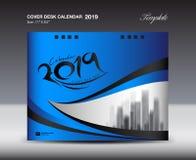 Molde azul do projeto do calendário de mesa 2019 da tampa, molde do inseto, anúncios, brochura, catálogo, boletim de notícias, di ilustração do vetor