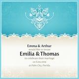 Molde azul do projeto do convite do casamento Fotos de Stock