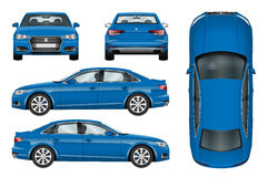 Molde azul do vetor do carro Fotos de Stock