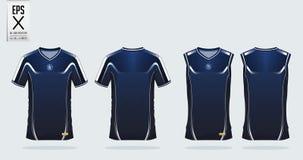Molde azul e branco do projeto do esporte do t-shirt para o jérsei de futebol, o jogo do futebol e a camiseta de alças para o jér Imagem de Stock