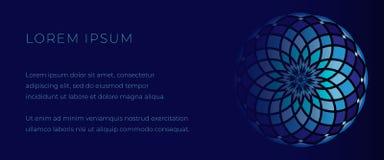 Molde azul profundo para a bandeira da Web com mandala do mosaico ilustração do vetor