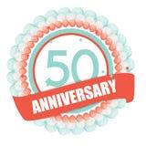 Molde bonito 50 anos de aniversário com balões e fita Vect Fotos de Stock Royalty Free