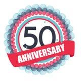 Molde bonito 50 anos de aniversário com balões e fita Vect Imagem de Stock Royalty Free