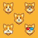 Molde bonito da ilustração do projeto do vetor dos desenhos animados do cão fotografia de stock