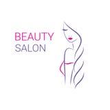 Molde bonito do logotipo do vetor da mulher para o cabeleireiro ilustração stock