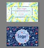 Molde bonito floral & das folhas do teste padrão do cartão do nome de cartão do projeto ilustração stock