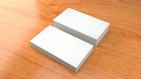 Molde branco do cartão no fundo de madeira 3D de alta resolução rendem Imagem de Stock Royalty Free