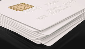Molde branco vazio do cartão de crédito no fundo preto - rendição 3D Imagem de Stock