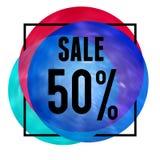 Molde brilhante com quadro e venda em círculos de cor Imagens de Stock Royalty Free