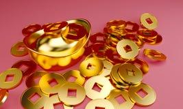 Molde chinês do projeto do cumprimento do ano novo com os lingotes e os mandarino dourados chineses no teste padrão vermelho do s ilustração royalty free