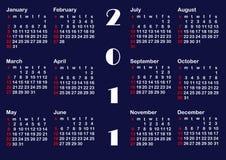 Molde clássico do calendário para 2011. vetores. Imagem de Stock
