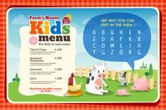 Molde colorido bonito do menu da refeição das crianças ilustração royalty free