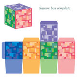 Molde colorido da caixa quadrada com tampa Ilustração Royalty Free