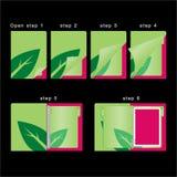 Molde colorido do organizador do livro aberto e próximo - conceito do verde do diário - vetor ilustração royalty free
