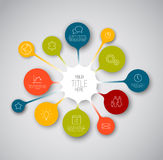 Molde colorido do relatório do espaço temporal de Infographic com bolhas Foto de Stock Royalty Free