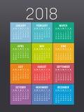 Molde colorido do vetor do calendário do ano 2018 ilustração royalty free
