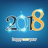 Molde colorido efervescente do projeto do cartão, da tampa ou do fundo do ano novo - 2018 Imagens de Stock
