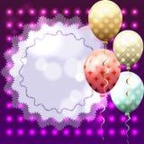 Molde colorido para o convite, cartão de aniversário com quadro e b Fotos de Stock
