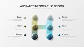 Molde colorido realístico infographic da apresentação das bolas 3D do símbolo moderno do alfabeto H da opção do vetor 6 ilustração do vetor