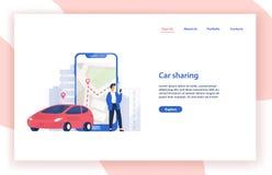 Molde com automóvel, posição do Web site do serviço da partilha de carro do homem ao lado do smartphone gigante com o mapa da cid ilustração stock