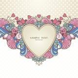 Molde com coração e elementos naturais decorativos abstratos Imagens de Stock Royalty Free