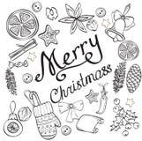 Molde com elementos festivos tradicionais para o projeto do Natal ilustração royalty free