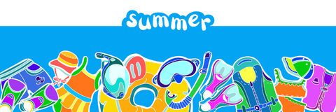 Molde com grupo de bens da natação para crianças no fundo azul Ilustração de cor do vetor Imagem de Stock
