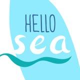 Molde com o mar da frase olá! lettering Luz do vetor art Imagens de Stock Royalty Free
