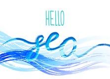 Molde com o mar da frase olá! lettering Luz do vetor art Imagens de Stock