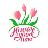 Molde com o ramalhete macio das flores Tenha uma boa estadia Ilustração do vetor Imagem de Stock Royalty Free
