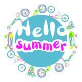 Molde com o verão da frase olá! Grupo de bens ostentando lettering Vetor Imagens de Stock
