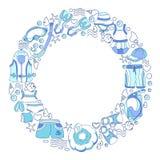 Molde com os bens da natação para crianças no círculo Ilustração de cor do vetor Fotografia de Stock