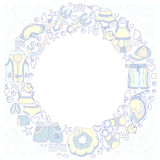 Molde com os bens da natação para crianças no círculo Ilustração de cor do vetor Imagem de Stock Royalty Free