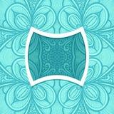 Molde com quadro e teste padrão sem emenda da Zen-garatuja no azul ilustração do vetor