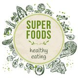 Molde com superfoods tirados mão Foto de Stock