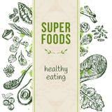 Molde com superfoods tirados mão Fotografia de Stock