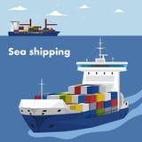 Molde comercial da bandeira do transporte do mar Fotografia de Stock Royalty Free
