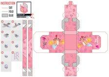 Molde cor-de-rosa da caixa com um cupido para o dia de Valentim ilustração royalty free
