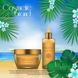 Molde cosmético do projeto do sunblock do verão no fundo da praia com folhas de palmeira exóticas proteção do sol 3D e PR realíst Fotografia de Stock