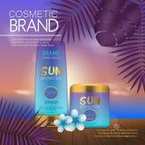 Molde cosmético do verão na praia do por do sol com fundo exótico das folhas de palmeira Projeto 3D realístico Imagens de Stock Royalty Free