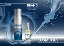 Molde cosmético dos anúncios do pacote Garrafas do champô ou do gel e de óleo Ilustração realística do modelo 3D Gotas da água Sp Imagem de Stock