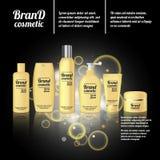 molde cosmético realístico dos anúncios da garrafa 3D Projeto de conceito cosmético da propaganda de tipo com bolhas e sparkles ilustração do vetor