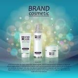 molde cosmético realístico dos anúncios da garrafa 3D Projeto de conceito cosmético da propaganda de tipo com brilhos e fundo do  Foto de Stock