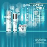 molde cosmético realístico dos anúncios da garrafa 3D Projeto de conceito cosmético da propaganda de tipo com brilhos e fundo do  Fotografia de Stock Royalty Free
