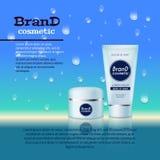 molde cosmético realístico dos anúncios da garrafa 3D Projeto de conceito cosmético da propaganda de tipo com fundo das bolhas e  Fotos de Stock Royalty Free