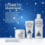 molde cosmético realístico dos anúncios da garrafa 3D Projeto de conceito cosmético da propaganda de tipo no fundo do inverno com Fotografia de Stock