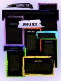 Molde criativo colorido do Web site do projeto do grunge ilustração stock