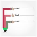 Molde criativo com fluxograma da bandeira da fita do lápis Imagens de Stock Royalty Free