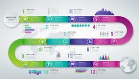 Molde 3D infographic abstrato com 12 opções Conceito da apresentação do negócio Vetor Imagem de Stock Royalty Free