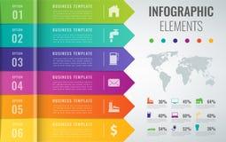 Molde 3D infographic abstrato com 6 opções Conceito da apresentação do negócio Vetor Imagens de Stock Royalty Free